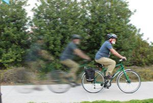 John Nolt riding his bicycle
