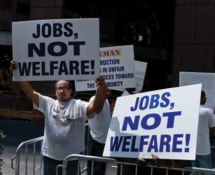 people holding welfare signs
