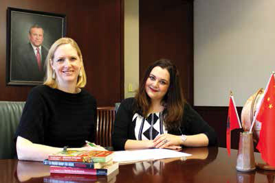 Krista Wiegand with Erin Rowland, doctoral candidate in political science and Baker Center Graduate Fellow in Global Security.